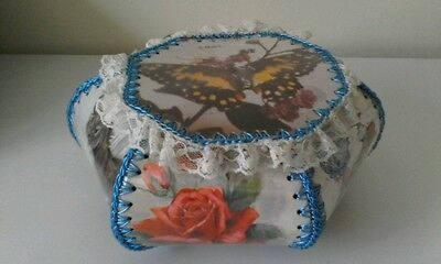 Vintage Handmade Card Craft With Crochet Edging Sewing Basket