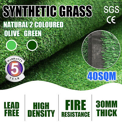 40 SQM Artificial Grass Synthetic Turf Plastic Plant Fake Lawn Flooring 30MM AU