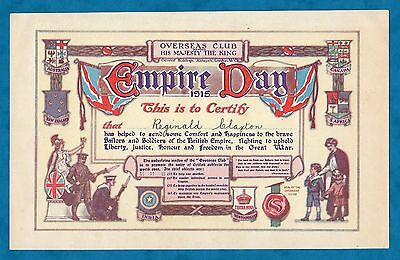 1915 Overseas Club Empire Day Certificate For Gifts To Soldiers & Sailors