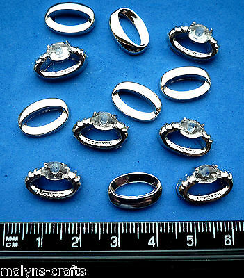 RINGS SILVER COLOUR -FLAT Craft Novelty Wedding Embellishments Gold Love Plastic