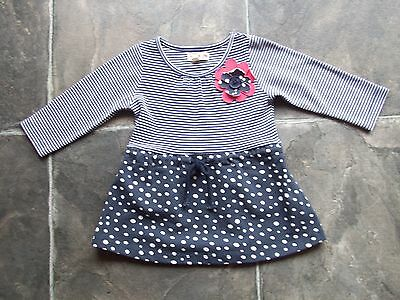 BNWNT Baby Girl's Navy, Red & White Long Sleeve Dress Size 00