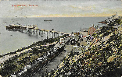 MUMBLES PIER showing Train at Railway Station - Max Ettlinger Card - Posted 1906