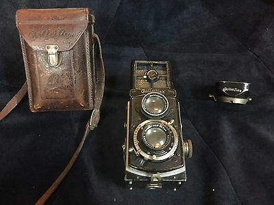 Rolleiflex Twin lens Camera with Case and Lens Shade