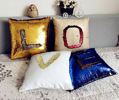 Reversible Color Change Mermaid Sequined Cushion Cover Throw Pillow Case UK SELL