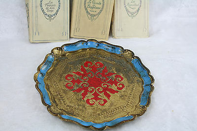 Vintage Florentine Tray plate wood Italian Decoration table italy