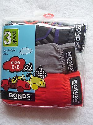 BNIP Boy's Bonds 3 Pack Briefs/Undies/Underwear Size 6-8