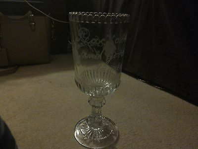 Antique Mid 1860-70 Victorian Heavy Cut Glass Celery Vase ...with etched writing