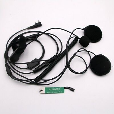 Full Face Close Helmet Motocycle Headset/Earpiece For Kenwood Radio 2-Pin TH-F6