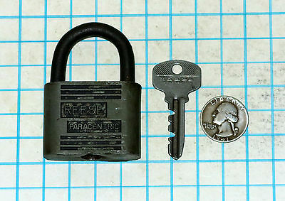 Genuine Vtg Antique Old REESE Lock Co PARACENTRIC Padlock and Original 502 Key