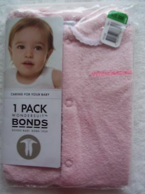 BNIP Baby Girl's Bonds Pink Towelling Wondersuit/Coverall Size 000