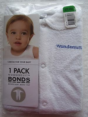BNIP Baby Girl's/Boy's Unisex Bonds White Towelling Wondersuit/Coverall Size 000