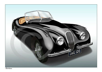 JAGUAR XK120 or XK150 PRINT - PERSONALISED ILLUSTRATION OF YOUR CAR