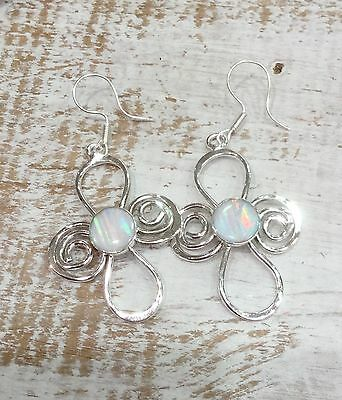 MEXICAN EARRINGS Opalite Sterling Silver Plated Daisy Design  Fair Trade Gift
