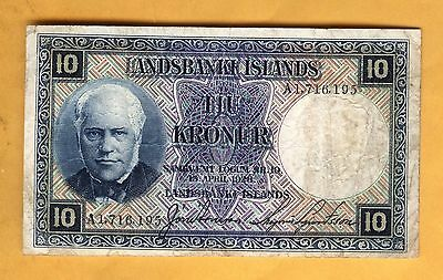 Price Reduced 1716195 Banknote Iceland 10 Krona Very Fine Free Shipping 1928