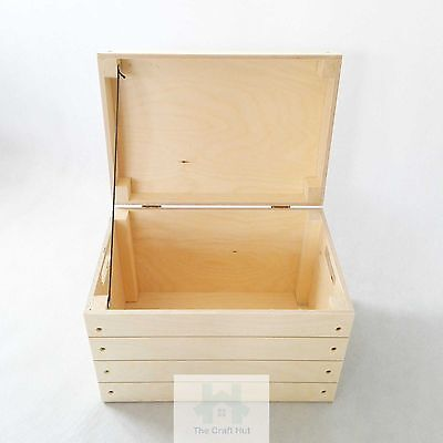 Wooden storage box, chest, small toy lidded trunk, handles, untreated wood PawS