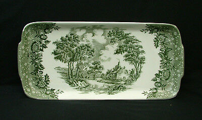 "W H Grindley pottery green  ""Country Style"" pattern sandwich tray"