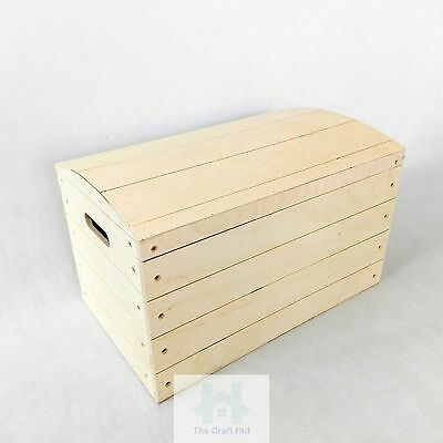 Wooden storage box, chest, small toy lidded trunk, handles, untreated wood PawM