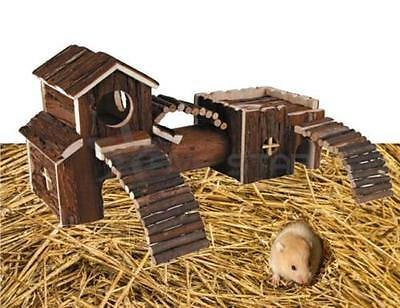 Wooden Redwood Pet Hamster Mouse Leisure Natural Indoor Playground Toy 924