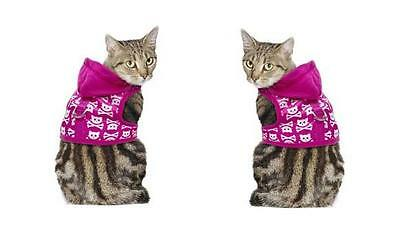 Pets At Home Hot Pink Kitty Skull Hoodie Harness (Brand New)