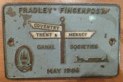 Narrowboat Metal Plaque - Fradley Fingerpost 1986 - Coventry, Trent & Mersey