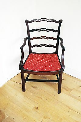 Early 19th Century Antique Mahogany Lader Back Caver Chair