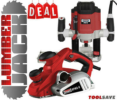 "Lumberjack 82mm Electric Planer & 1/4"" Variable Speed 1200w Plunge Router 240v"
