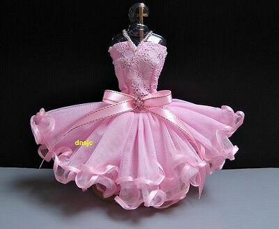 "Ballerina Ballet Tutu Handmade Outfit Costumes for Barbie, Doll 12"" Pink Dresses"