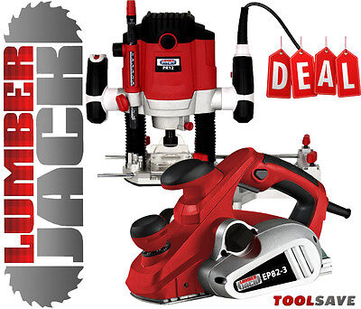 "Lumberjack 82mm Electric Planer & 1/2"" Variable Speed 1800w Plunge Router 240v"
