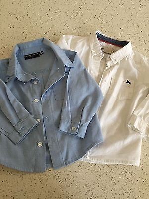 2 baby boys shirts age 12 months white and blue BNWOT