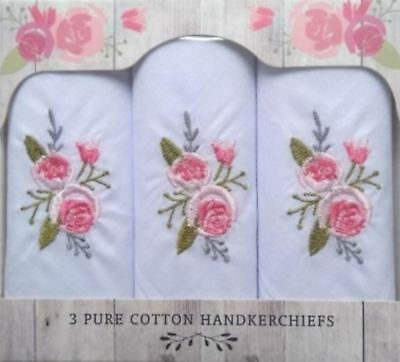 Rose Garden 3 Beautiful Embroidered Floral 100% Cotton Women's Handkerchiefs