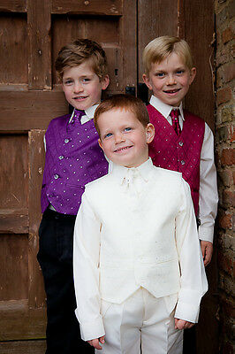 NEW - Boys 4pc Wedding Occasion Waistcoat Suit Tie Shirt - Ages 12mths - 7yrs