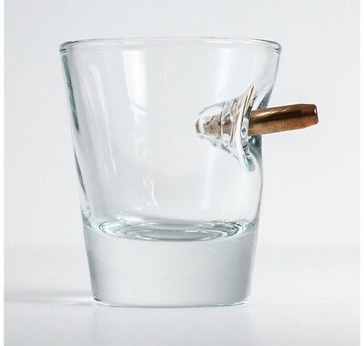 Shot Glass with Real 0.308 Bullet Bulletproof Made In USA Shot Glasses