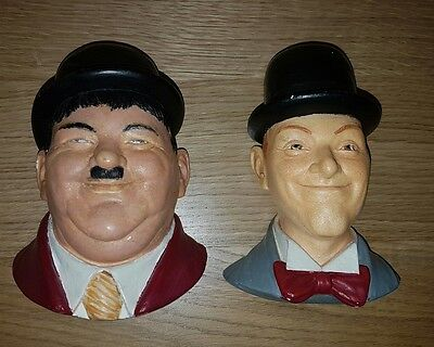 Stan Laurel & Oliver Hardy Legend Chalkware Wall Bust like Bossons - Ornaments