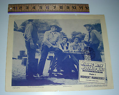 Lobby card RIDING with BUFFALO BILL chap.5 midnight marauders Columbia Western b