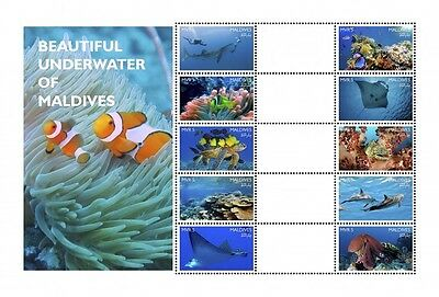 Z08 IMPERFORATED MLD161204a1 MALDIVES 2016 Beautiful Underwater of Maldives MNH