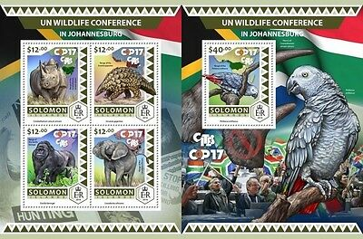 Z08 IMPERFORATED SLM16519ab SOLOMON ISLANDS 2016 UN wildlife conference MNH ** P
