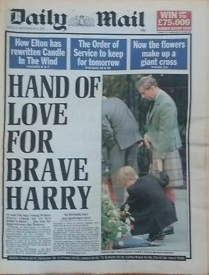 Daily Mail Vintage Newspaper  September 5th 1997 Diana Princess of Wales