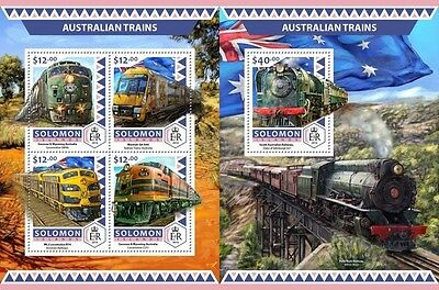 Z08 SLM16515ab SOLOMON ISLANDS 2016 Australian trains MNH ** Postfrisch Set