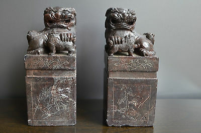 Pair of Qing Dynasty Antique Chinese Soapstone Carved Fu Foo Lion Dog Seal 5½""