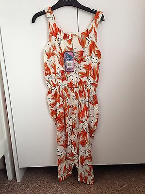 Lovely Girls Orange White Floral Pockets Long Jumpsuit Playsuit 2-3 Years BNWT