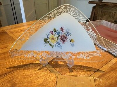 CHANCE GLASS TRIANGULAR  FLORAL DISH - boxed