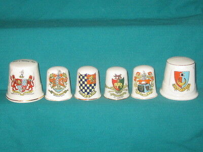 6 Crested Thimbles - assorted crests