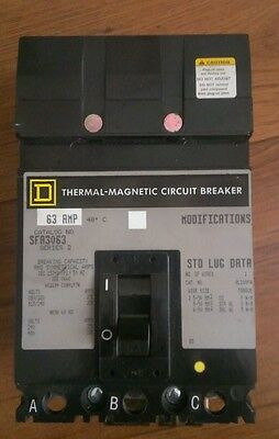 Square D Thermal Magnetic Circuit Breaker 63A SFA3063 3 pole