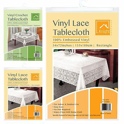 Vintage Lace PVC Tablecloth Vinyl Waterproof Embossed Table Cover