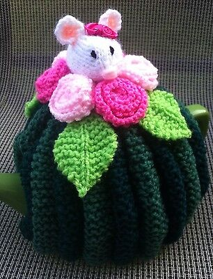 Hand Knitted Mouse In The Roses Tea Cosy, 4-6 Cup Size