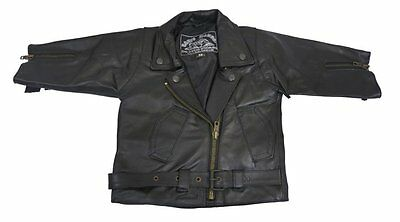 Fringed  Leather Toddler Baby Brando Custom Motorcycle Jacket Faulty Poppers 2XL