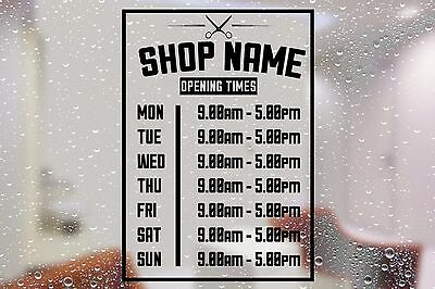 Barber shop opening times + shop name window sticker wall decal custom personal
