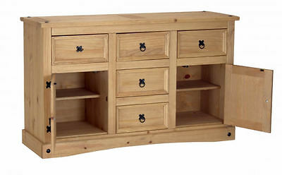 Corona 2 Door 5 Drawer Sideboard In Distressed Wax Pine - Free Fast Delivery