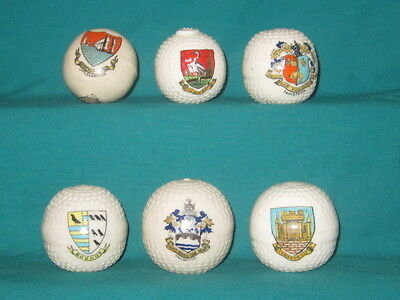 6 Crested China Golfballs - assorted crests