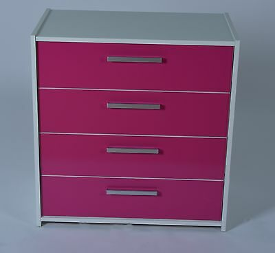 Shelby 4 Drawer Chest White with Pink Gloss Drawer Fronts